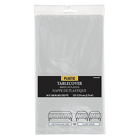 """Amscan Plastic Table Covers, 54"""" x 108"""", Silver, Pack Of 9 Table Covers"""