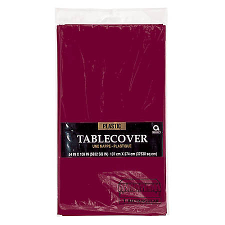 "Amscan Plastic Table Covers, 54"" x 108"", Berry, Pack Of 9 Table Covers"