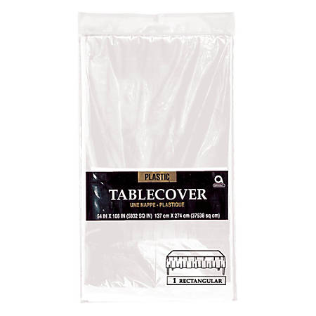"""Amscan Plastic Table Covers, 54"""" x 108"""", Clear, Pack Of 9 Table Covers"""
