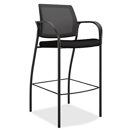 "HON Ignition Cafe-Height 4-Leg Stool - Fabric Black Seat - Four-legged Base - 19"" Seat Width x 17"" Seat Depth - 25"" Width x 23"" Depth x 46.5"" Height"
