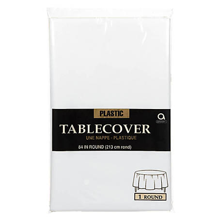 """Amscan Plastic Round Table Covers, 84"""", Frosty White, Pack Of 9 Covers"""
