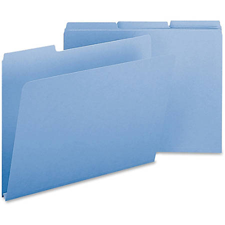 Smead® 1/3-Cut Color Pressboard Tab Folders, Letter Size, 50% Recycled, Blue, Box Of 25