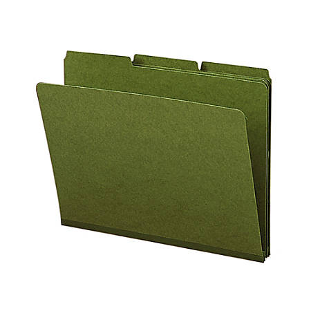 Smead® 1/3-Cut Color Pressboard Tab Folders, Letter Size, 50% Recycled, Green, Box Of 25