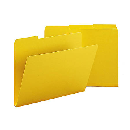 Smead® 1/3-Cut Color Pressboard Tab Folders, Letter Size, 50% Recycled, Yellow, Box Of 25