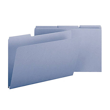 Smead® 1/3-Cut Color Pressboard Tab Folders, Legal Size, 50% Recycled, Blue, Box Of 25