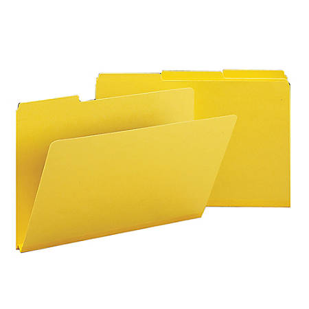 Smead® 1/3-Cut Color Pressboard Tab Folders, Legal Size, 50% Recycled, Yellow, Box Of 25