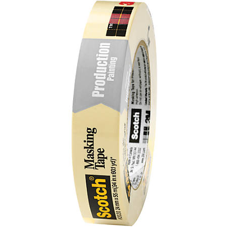 "3M™ 2020 Masking Tape, 3"" Core, 1"" x 180', Natural, Case Of 12"