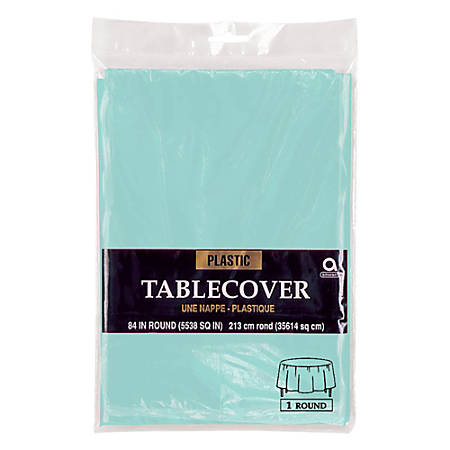 """Amscan Plastic Round Table Covers, 84"""", Robin's Egg Blue, Pack Of 9 Covers"""