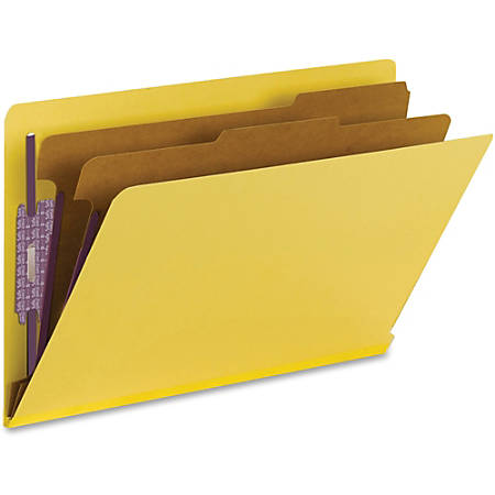 """Smead® End-Tab Classification Folders, With SafeSHIELD® Fasteners, 8 1/2"""" x 14"""", 2 Divider, 50% Recycled, Yellow, Box Of 10"""