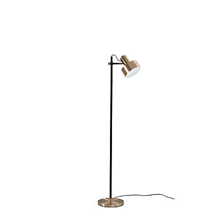 "Adesso® Clayton Floor Lamp, 56-1/2""H, Antique Brass/Matte Black"