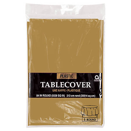 """Amscan Plastic Round Table Covers, 84"""", Gold, Pack Of 9 Covers"""