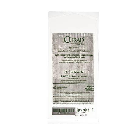 """CURAD® Sterile Oil Emulsion Gauzes, 3"""" x 16"""", White, Box Of 36"""