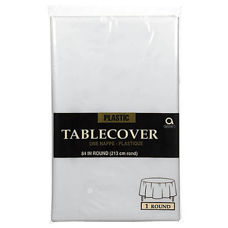 """Amscan Plastic Round Table Covers, 84"""", Clear, Pack Of 9 Covers"""