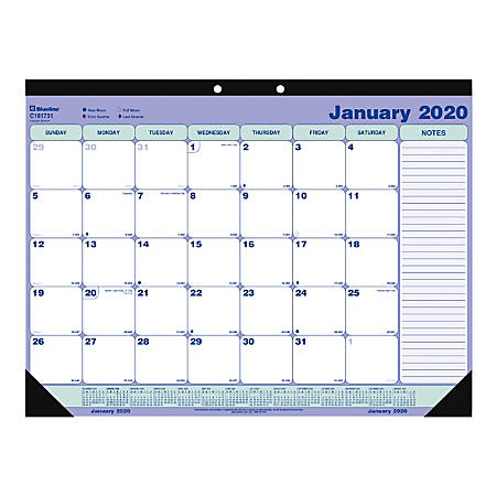 "Blueline® Monthly Desk Pad Calendar, 21-1/4"" x 16"", January to December 2020"
