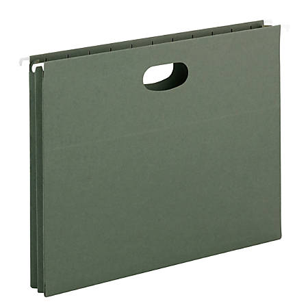 """Smead® 1 3/4"""" Expansion Hanging Pockets, Letter Size, Green, Box Of 25"""