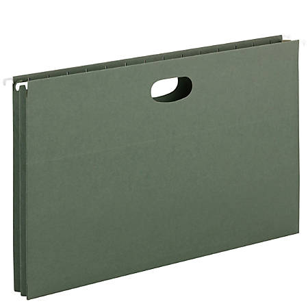 """Smead® 1 3/4"""" Expansion Hanging Pockets, Legal Size, Green, Box Of 25"""
