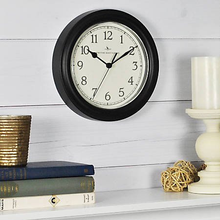 "FirsTime® Essential Round Wall Clock, 8 1/2"", Black"