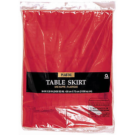 """Amscan Plastic Table Skirts, 84"""" x 29"""", Apple Red, Pack Of 2 Table Skirts"""