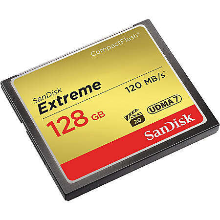 SanDisk Extreme 128 GB CompactFlash - 120 MB/s Read - 120 MB/s Write - 400x Memory Speed - Lifetime Warranty