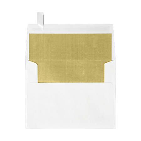"""LUX Invitation Envelopes With Peel & Press Closure, A2, 4 3/8"""" x 5 3/4"""", Gold/White, Pack Of 50"""