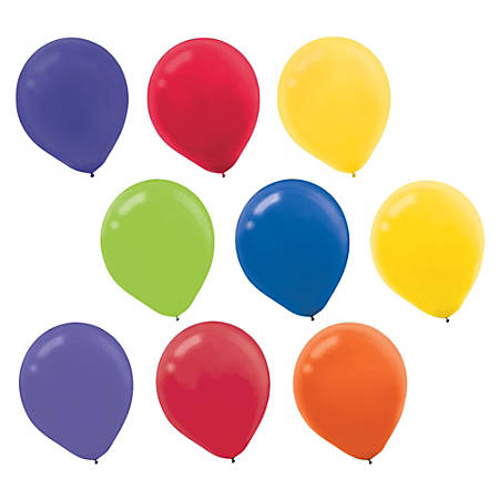 """Amscan Latex Balloons, 12"""", Assorted Colors, 72 Balloons Per Pack, Set Of 2 Packs"""