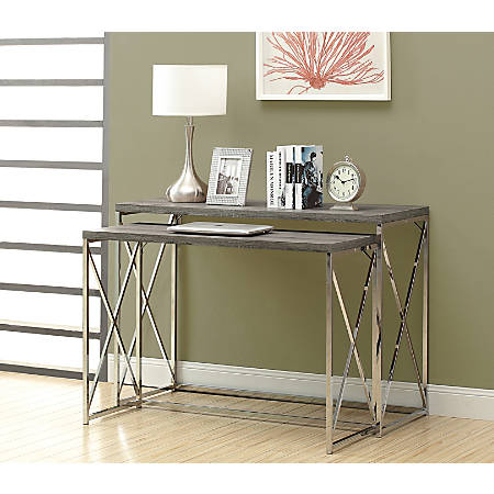 Monarch Specialties 2-Piece Console Table Set With Criss-Cross Legs, Rectangle, Dark Taupe/Chrome