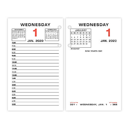 """AT-A-GLANCE® Daily Loose-Leaf Desk Calendar Refills, 3-1/2"""" x 6"""", January To December 2020, E01750"""