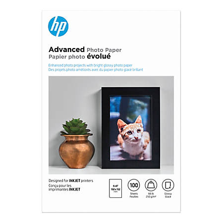 """HP Advanced Photo Paper for Inkjet Printers, Glossy, 4"""" x 6"""", 66 Lb, Pack Of 100 Sheets (Q6638A)"""