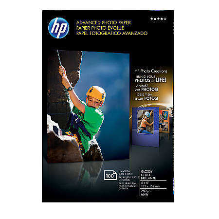 """HP Advanced Photo Paper, 4"""" x 6"""", 10.5 Mil, Pack Of 100 Sheets"""