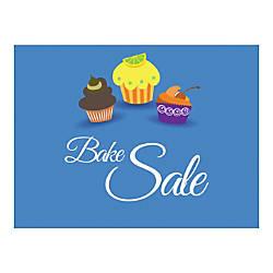 Plastic Sign Bake Sale Blue Horizontal