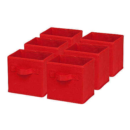 "Honey-Can-Do Mini Non-Woven Foldable Cubes, 7""H x 5 3/4""W x 7""D, Red, Pack Of 6"
