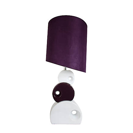 "Elegant Designs Stacked Circle Ceramic Table Lamp, 29""H, Purple Shade/Purple and White Base"