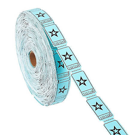 Raffle Tickets Roll - Single Roll Of 2000-Count Star Ticket Coupons, Blue