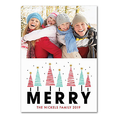 """Custom Photo Holiday Cards With Envelopes, 5"""" x 7"""", Merry Trees, Box Of 25 Cards"""