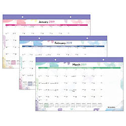 AT A GLANCE Watercolors Compact Monthly