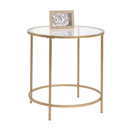 Fantastic Sauder International Lux Round Coffee Table In Satin Gold Machost Co Dining Chair Design Ideas Machostcouk