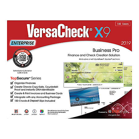 VersaCheck® TopSecure™ X9 Enterprise 2019, 100 Users, Traditional Disc