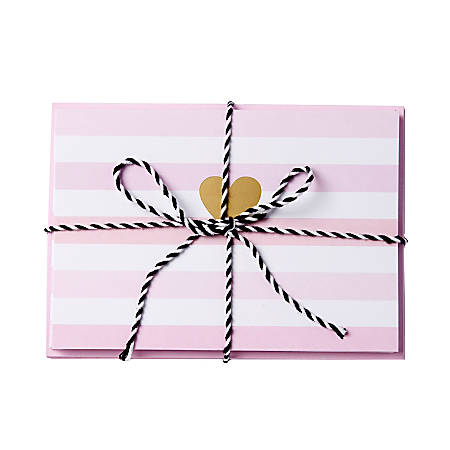 """Sincerely A Collection by C.R. Gibson® Baker's Twine Note Cards With Envelopes, 6"""" x 4 1/4"""", Pastel Stripe Heart, Blank Inside, Bag Of 8"""