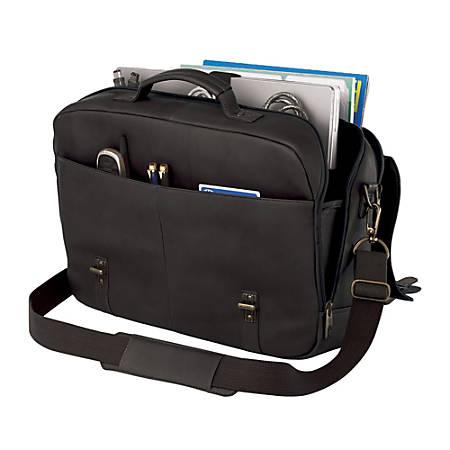 "Samsonite® Leather Flapover Portfolio, 14"" x 16.5"" x 4.5"", Black"