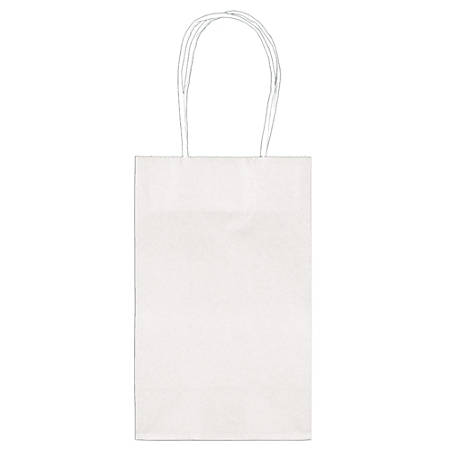 """Amscan Paper Solid Cub Gift Bags, 8-1/4""""H x 5-1/4""""W x 3-1/4""""D, Frosty White, Pack Of 40 Bags"""