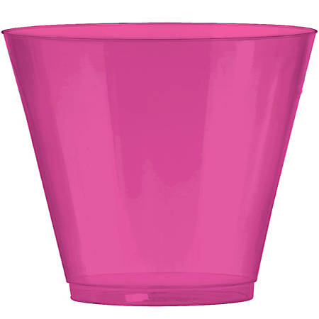 Amscan Plastic Cups, 9 Oz, Bright Pink, 72 Cups Per Pack, Set Of 2 Packs