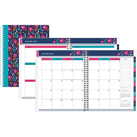 """Office Depot® Brand Happy Dahlias Weekly/Monthly Planner, 8"""" x 11"""", Floral, January To December 2019"""
