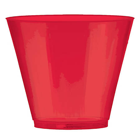 Amscan Plastic Cups, 9 Oz, Apple Red, 72 Cups Per Pack, Set Of 2 Packs