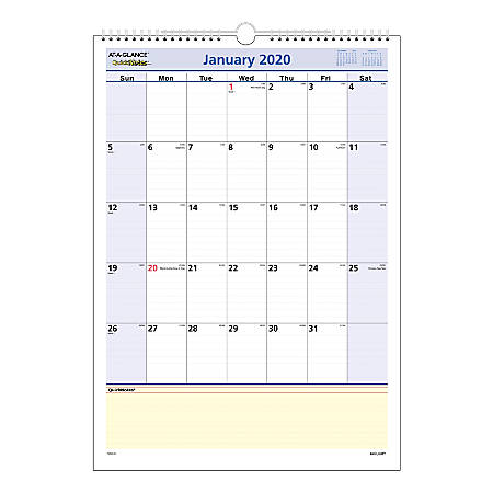 """AT-A-GLANCE® QuickNotes® Monthly Wall Calendar, 12"""" x 17"""", January To December 2020, PM5228"""