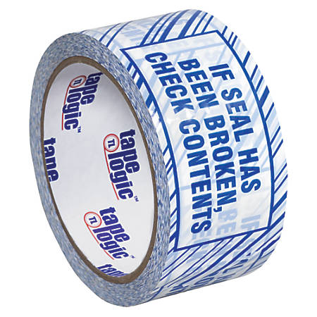 """Tape Logic® Security Tape, If Seal Has Been?, 3"""" x 110 Yd., Blue/White, Case Of 24"""
