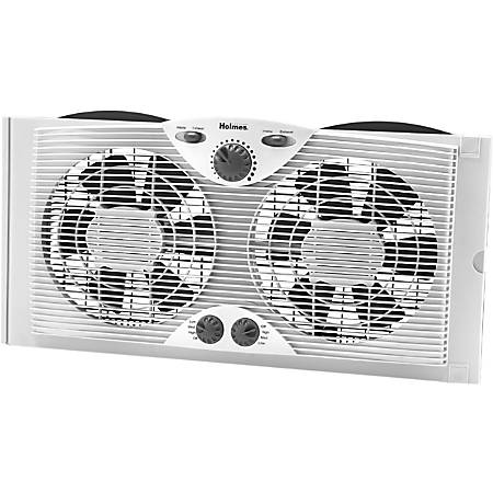 "Holmes Twin Window Fan - 228.6 mm Diameter - 3 Speed - Quiet, Thermostat, Manual Control, Dual Blade, Reversible Motor, Lightweight, Adjustable Slide Screen - 13.3"" Height x 6"" Width - White"
