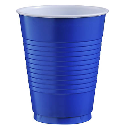 Amscan Big Party Pack Plastic Cups, 16 Oz, Royal Blue, Pack Of 50 Cups, Case Of 4 Packs