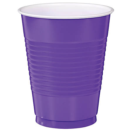 Amscan Big Party Pack Plastic Cups, 16 Oz, Purple, Pack Of 50 Cups, Case Of 4 Packs