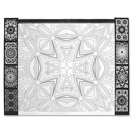 "Aurora Illustrator Jr DeskPad Geometric - Rectangle - 17"" Width x 22.8"" Depth - Paperboard - Black, White"