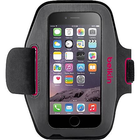 Belkin Sport-Fit Carrying Case (Armband) Apple iPhone Smartphone - Blacktop, Fuschia - Neoprene - Armband